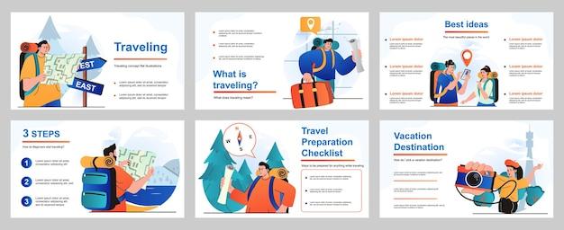 Reizend concept voor presentatiesjabloon mensen met rugzakken of bagage