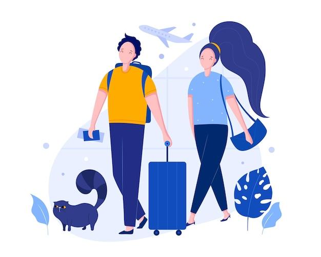 Reizend vectorillustratieconcept paar en kat met bagage bij de luchthaven