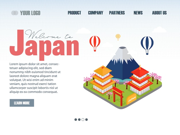 Reizende bestemmingspagina voor japan