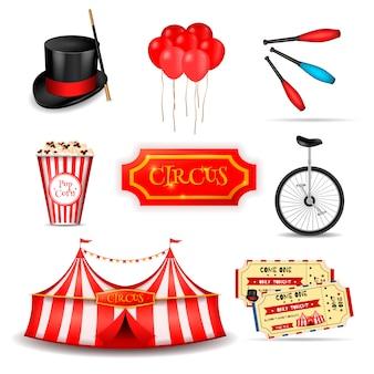 Reizende circus elementen instellen
