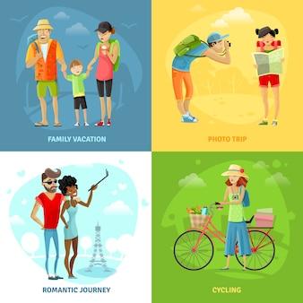 Reizende concepten icons set