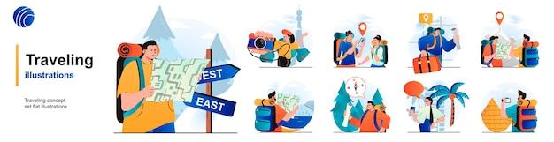 Reizende geïsoleerde set reizigers op vakantie, wandeltocht en avontuur van scènes in flat