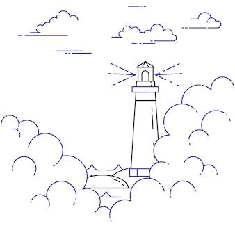 Reizende horizontale banner met vuurtoren in de mist en wolken. vlakke lijn kunstelementen. vector illustratie. concept voor reis, toerisme, reisbureau, hotels, zeilen, recreatiekaart.
