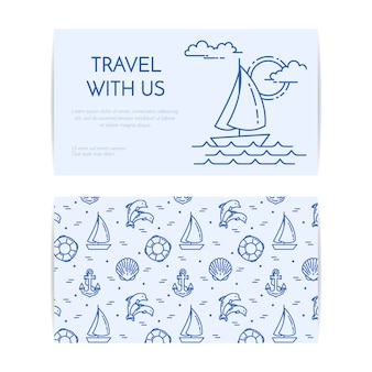 Reizende horizontale banner met zeilboot op golven