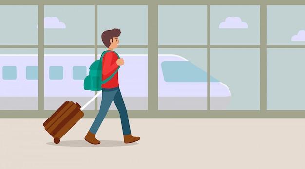 Reizende jonge mens die bij de luchthaventerminal lopen met koffer, illustratie