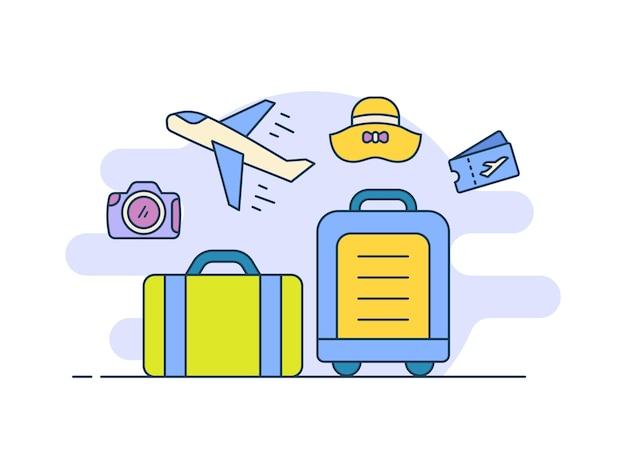 Reizende koffer icon iconen set collectie pakket