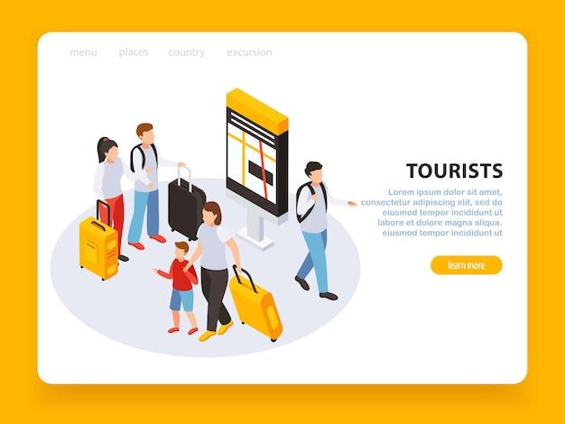 Reizende mensen pagina-ontwerp met toeristische symbolen isometrisch