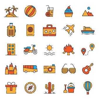 Reizende reeks pictogrammen van de vakantie van het toerisme