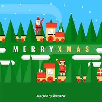 Reizende trein kerst achtergrond