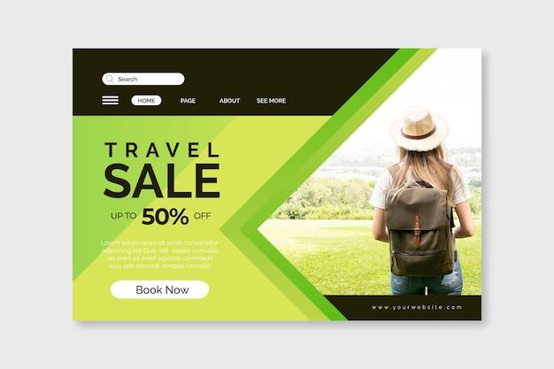Reizende verkoopwebpagina met korting