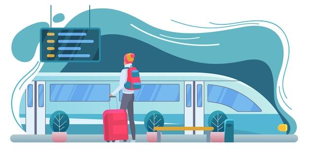 Reiziger bij station vlakke afbeelding. toerist met rugzak op platform stripfiguur. moderne trein. backpacker met koffer vertrek bord kijken. vakantie, reis, reis