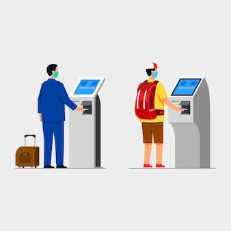 Reiziger koop een ticket met behulp van een zelfbedieningsmachine zonder aanraken