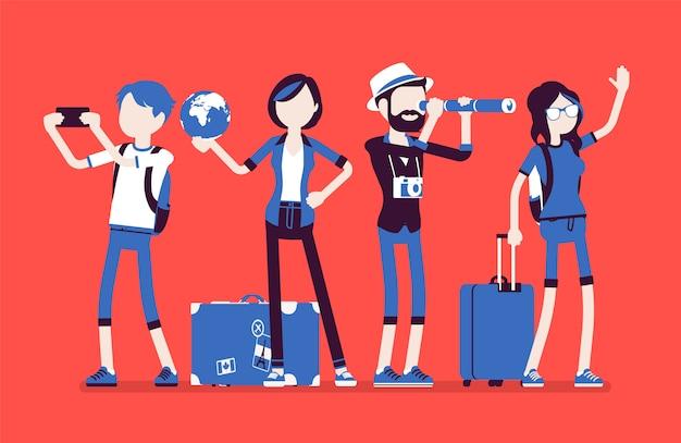 Reizigers groeperen zich met bagage
