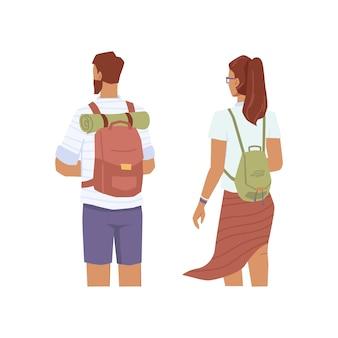 Reizigers kijken in de verte, man en vrouw met rugzakken achteraanzicht, platte stripfiguren