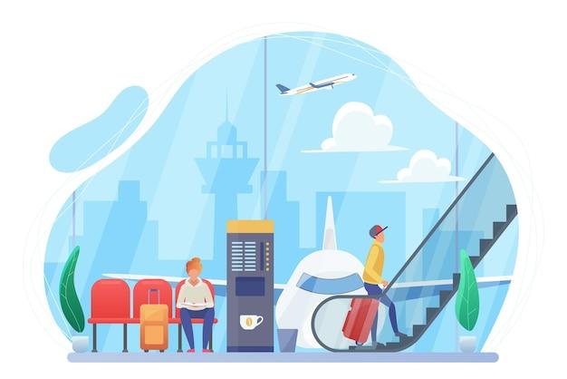 Reizigers met bagage die wachten op vlucht in de vertrekhal