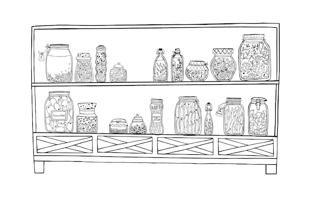 Rek met ingemaakte potten met groenten, fruit, kruiden en bessen op planken