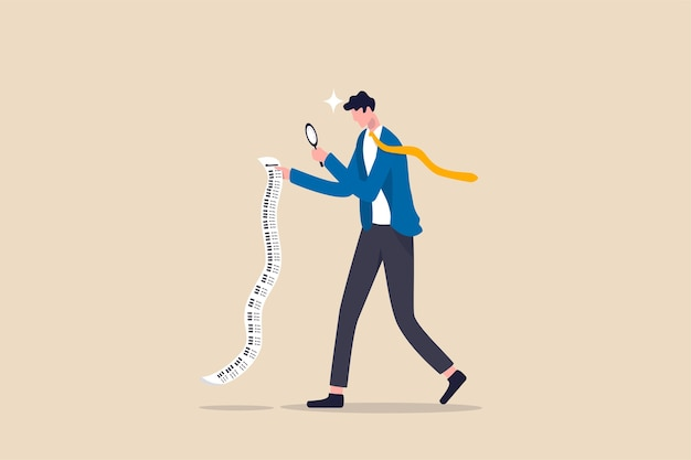 Rekeningen betalen, kosten- en uitgavenanalyse voor zakelijk of persoonlijk financieel concept, slimme zakenman die vergrootglas gebruikt om budget, inkomstenbelasting of onkosten te analyseren op lang factuurpapier.