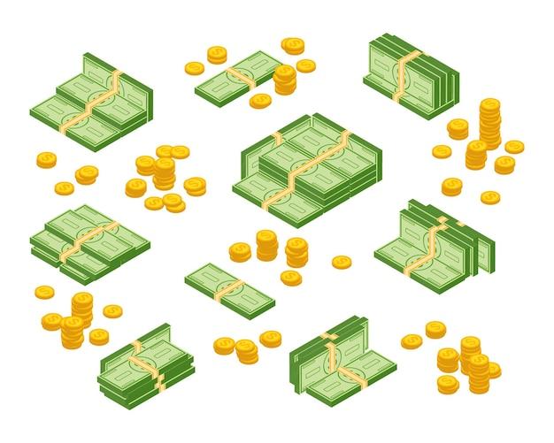 Rekeningen en munten geïsoleerd op een witte