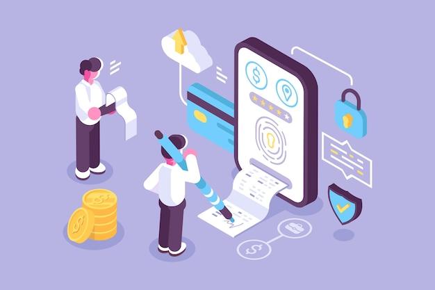 Rekeningen online betaling via mobiele applicatie illustratie