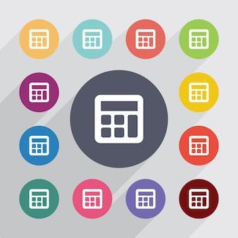 Rekenmachine cirkel, plat pictogrammen instellen. ronde kleurrijke knopen. vector