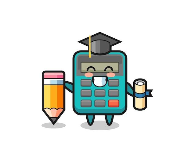 Rekenmachine illustratie cartoon is afstuderen met een gigantisch potlood, schattig stijlontwerp voor t-shirt, sticker, logo-element