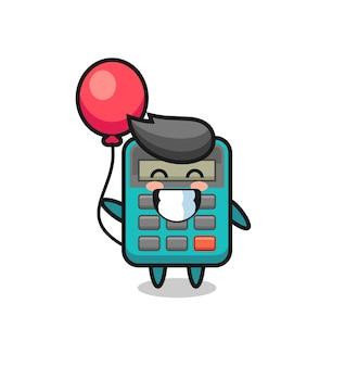 Rekenmachine mascotte illustratie speelt ballon, schattig stijlontwerp voor t-shirt, sticker, logo-element