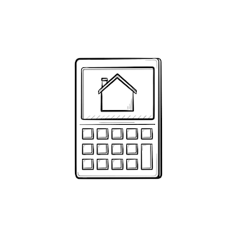 Rekenmachine met huis symbool hand getrokken schets doodle pictogram. huurbesparing, factuurbetaling, hypotheekconcept