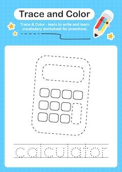 Rekenmachine-trace en kleuterschool-werkbladtracering voor kinderen voor het oefenen van fijne motoriek