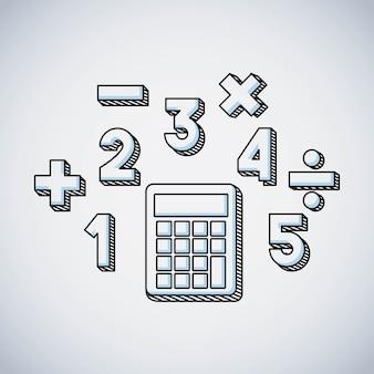 Rekenmachine wiskunde onderwijs lijn pictogram