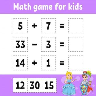 Rekenspel voor kinderen. onderwijs ontwikkelen werkblad. activiteitenpagina met afbeeldingen.
