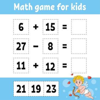 Rekenspel voor kinderen. onderwijs ontwikkelen werkblad. activiteitenpagina met foto's.