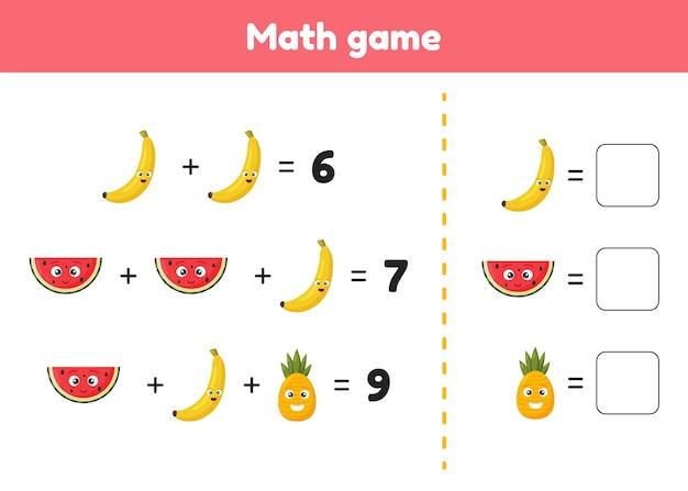 Rekenspel voor voorschoolse en schoolgaande kinderen tel en voeg de juiste nummers in toevoeging
