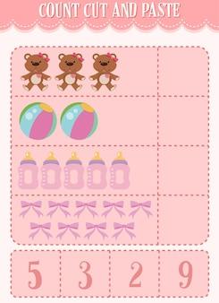 Rekenwerkblad tellen, knippen en plakken voor kinderen