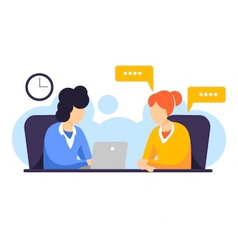 Rekruteer agenten die een interview en gesprek met nieuwkomers doen