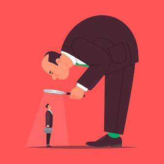 Rekruteren. het concept van rekrutering. de grote baas beoordeelt door middel van een vergrootglas de kandidaat voor werk in het bedrijf.