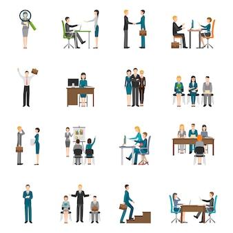 Rekrutering hr-mensen icons set