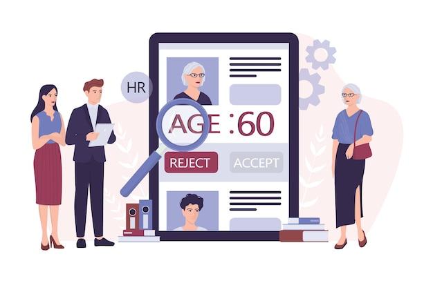 Rekrutering leeftijdsdiscriminatie. hr-specialist wijst een oude vrouw cv af.