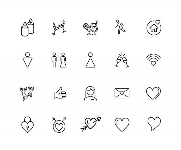 Relaties pictogrammen. set van twintig lijn pictogrammen.