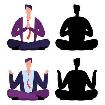 Relax, meditatie cartoon zakenlieden set
