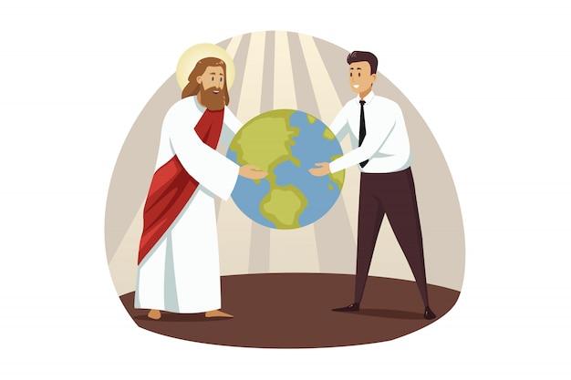 Religie, christendom, zaken, ondersteuning, succesconcept