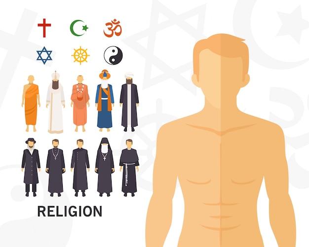 Religie concept achtergrond. vlakke pictogrammen