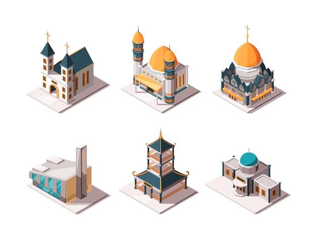 Religie gebouwen. islamitische moskee arabische architectonische objecten lutherse katholieke christelijke religie monumenten isometrisch