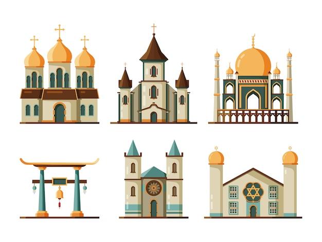 Religie gebouwen. lutherse en christelijke kerk moslim moskee architectonische traditionele gebouwen