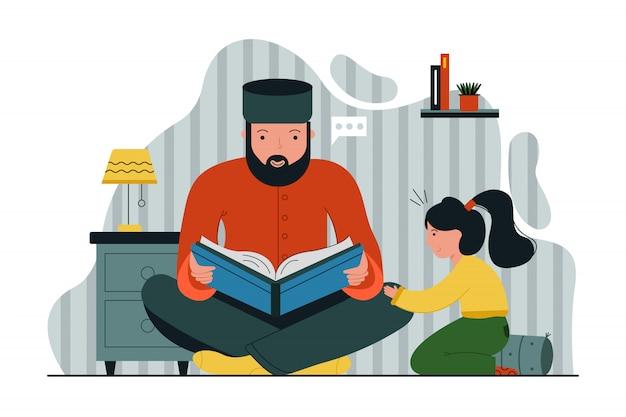 Religie, islam, onderwijs, vrije tijd, god, allah, vaderschap, concept kindertijd