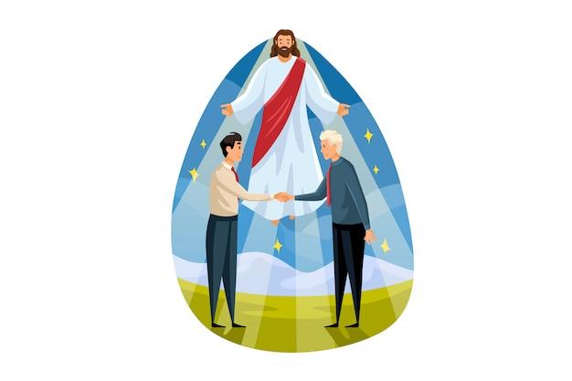 Religie, ondersteuning, zaken, christendom, ontmoetingsconcept. jezus christus, zoon van gods zegen, helpt jonge zakenlieden administrateurs bij het sluiten van een deal. goddelijke hulp met illustratie van verzoening