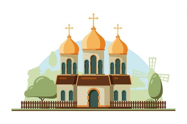 Religie opbouwen. christelijke traditionele kerk met klok architectonische religie object