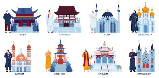 Religie tempel kerk moskee vector illustratie platte set, cartoon religieuze aanbidding plaatsen architectuur