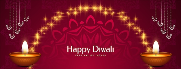 Religieus happy diwali festival decoratief bannerontwerp