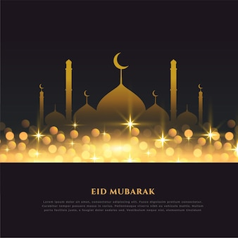 Religieuze eid mubarak festival gouden achtergrond