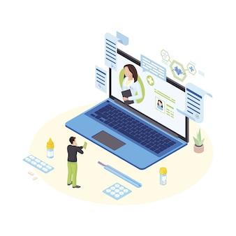 Remote consultatie isometrische illustratie van de arts. mannelijke patiënt op videoconferentie met cardioloog. telegeneeskundig specialist die recepten stripfiguur geeft. medische dienst op afstand